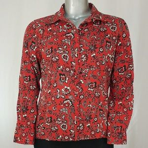 Notations Red Floral Fitted Button Blouse, XL
